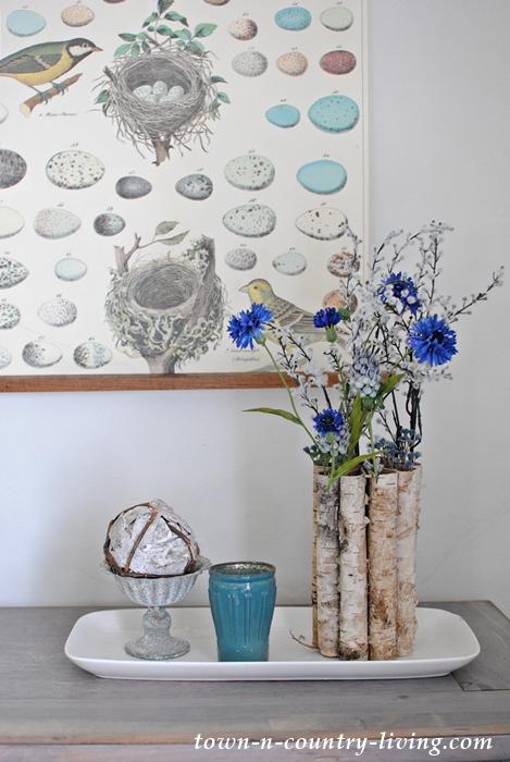 spring home tour, spring decor, botanical prints, farmhouse style, birch vase