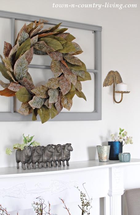 spring home tour, spring decorating, white mantel, farmhouse mantel, magnolia leaf wreath