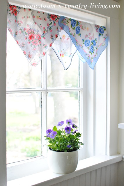Vintage Hankie Curtain. DIY decorating, kitchen window, spring decor.