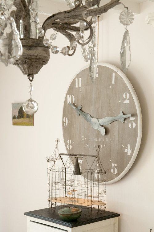 French Farmhouse Details - large wall clock and wire bird cage