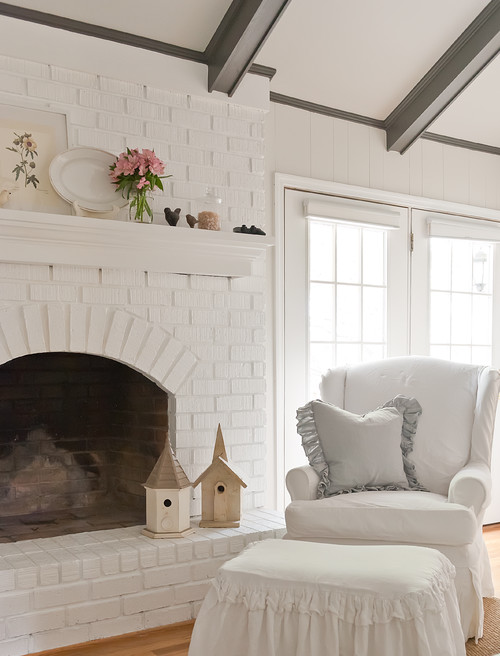 Beautiful White Mantel Dressed for Spring