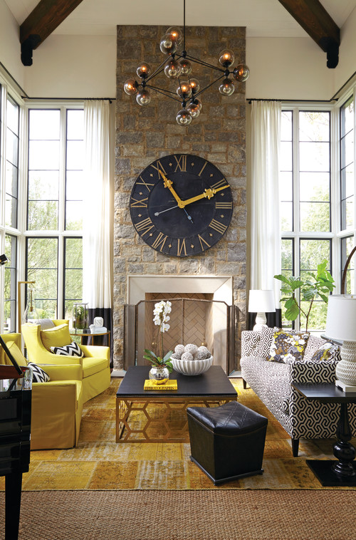Transitional Living Room with Large Wall Clock on Fireplace