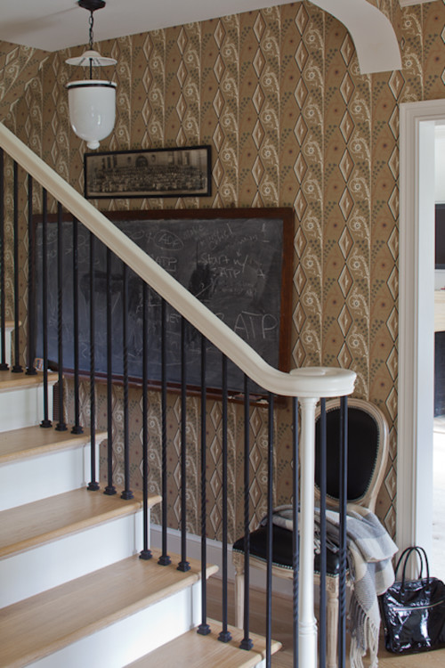 Entryway with Staircase and Wallpaper