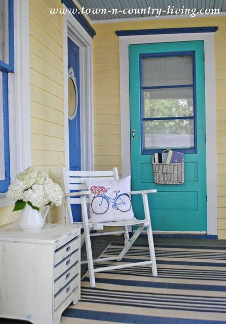 spring porch, front porch, farmhouse porch, bicycle pillow
