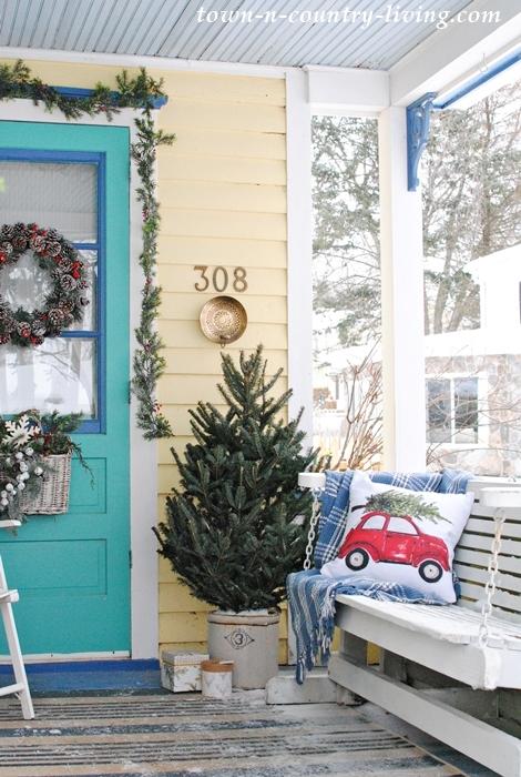 christmas porch, christmas pillow, farmhouse porch, front porch