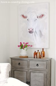 Farmhouse Cow Painting in the Sitting Room