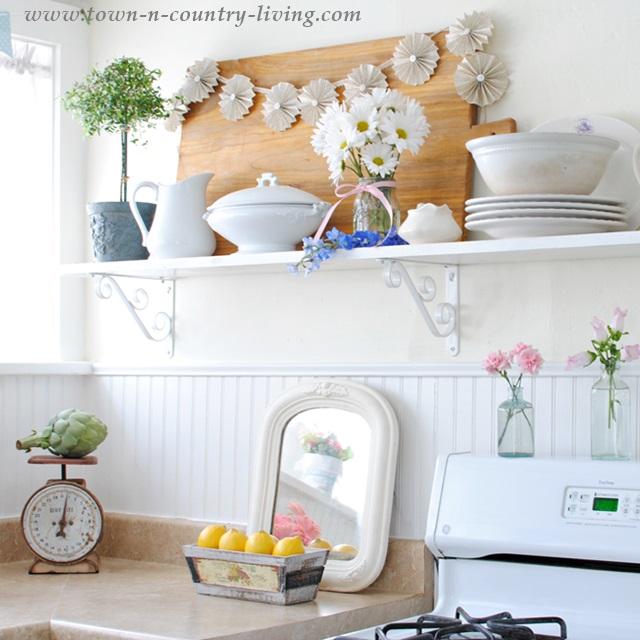 farmhouse kitchen, open shelving, country kitchen, cottage kitchen, white kitchen