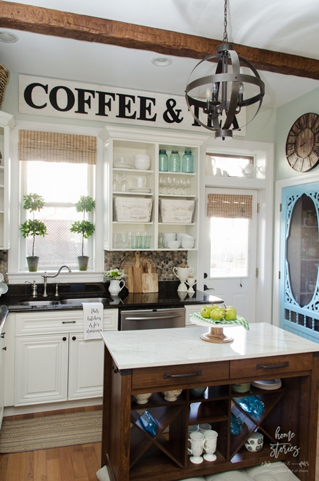 open cupboards, farmhouse kitchen, country kitchen, kitchen storage, kitchen island