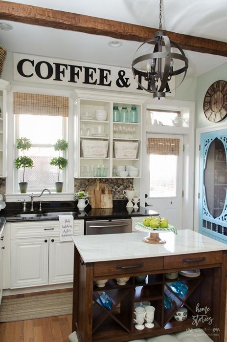 open cupboards, farmhouse kitchen, country kitchen, kitchen storage, kitchen island