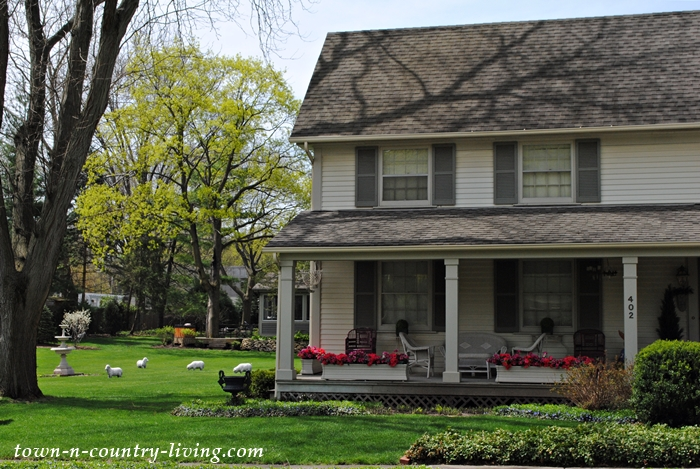 front porch, grazing sheep, flower boxes, historic homes of Geneva, Illinois