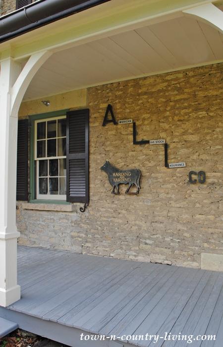 front porch, stone house, historic home, Geneva, Illinois