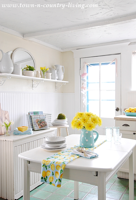 farmhouse kitchen aqua and yellow cottage kitchen white kitchen tile floor how to add a bit of kitchen color   town  u0026 country living  rh   town n country living com