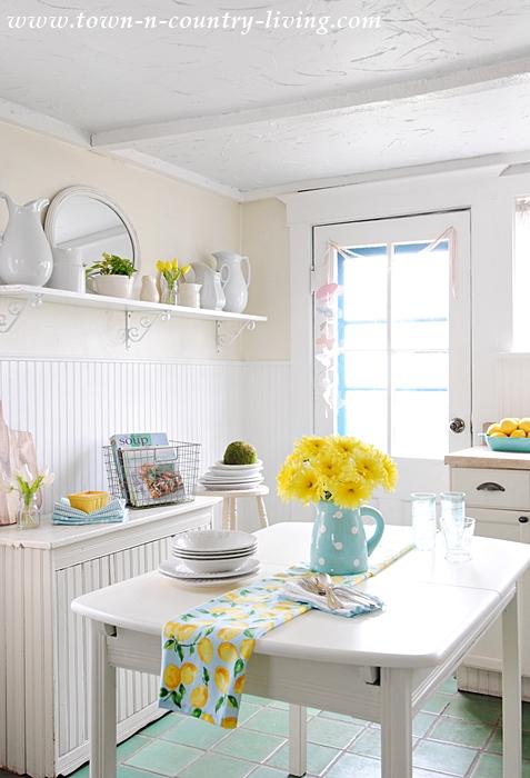 farmhouse kitchen, aqua and yellow, cottage kitchen, white kitchen, tile floor