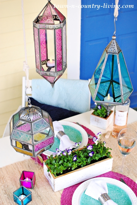 spring porch dining, boho chic, table setting, tablescape, jewel tone table setting