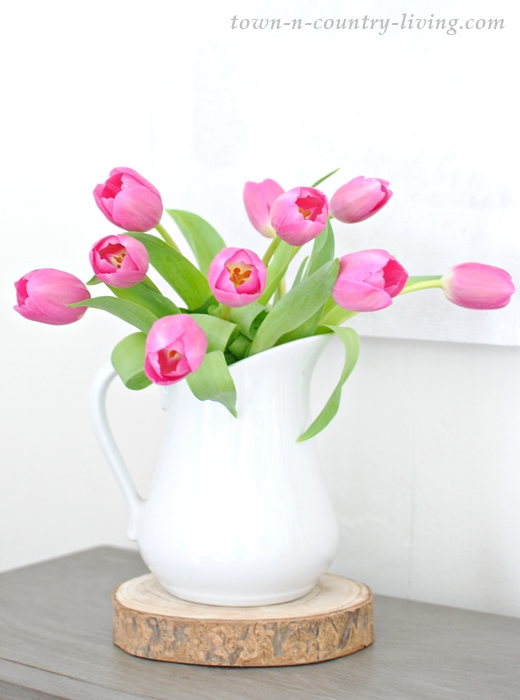 pink tulips, white ironstone pitcher, flower arrangement, spring flowers, spring decorating