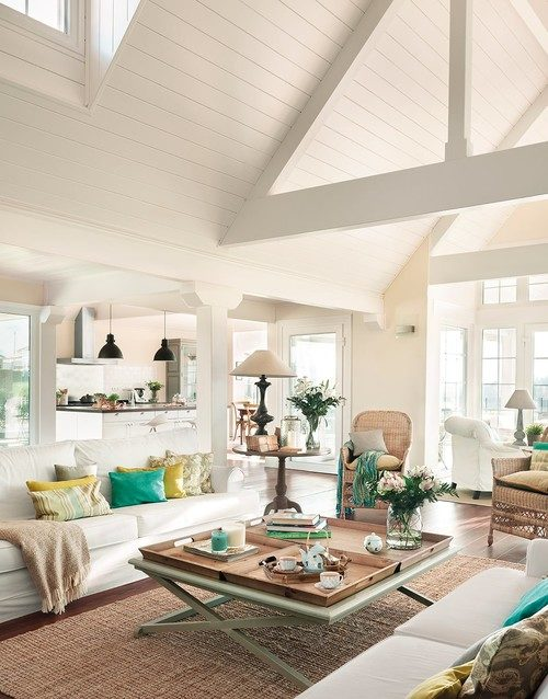 white living room, cottage style, Spanish house, open floor concept,