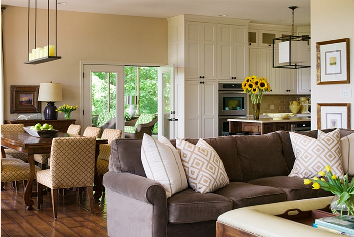traditional living room, open concept floor plan