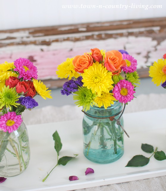 colorful bouquet, mason jar vase, farmhouse flowers, floral arrangement