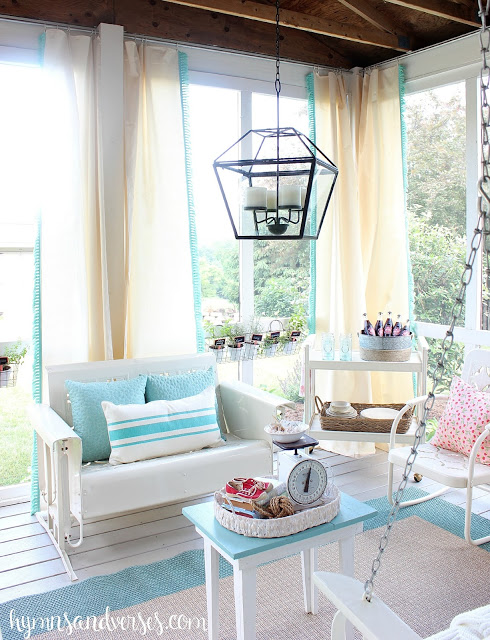 summer porch inspiration, screened porch from Hymns and Verses