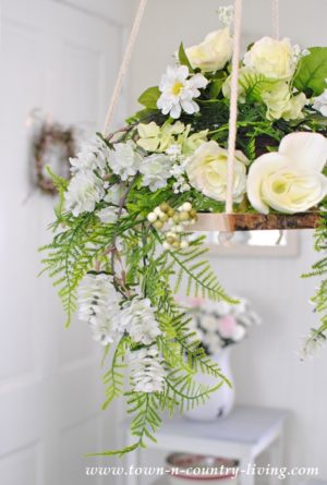 floral chandelier, silk flowers, decorating with flowers