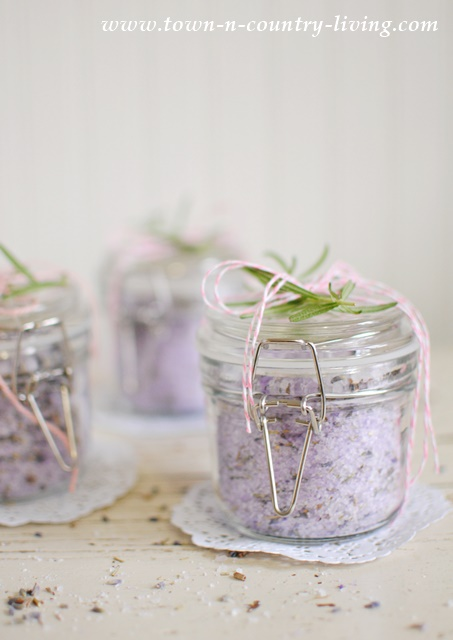 handmade gifts, lavender rosemary bath salts