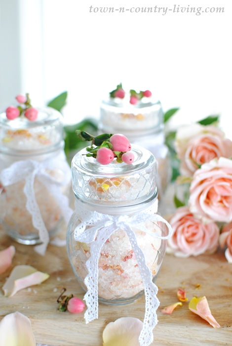 rose bath salts, handmade gifts