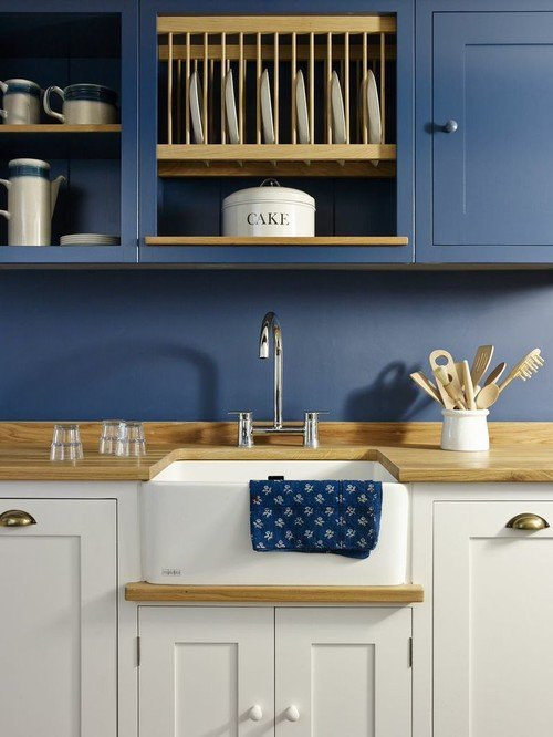Country Style Farmhouse Kitchen with Blue Cabinets