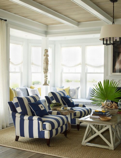 Decorating with Navy Blue. coastal style, nautical style, living room, blue and white