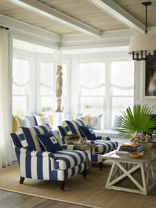 Decorating with navy blue town country living - Beach style living room ...