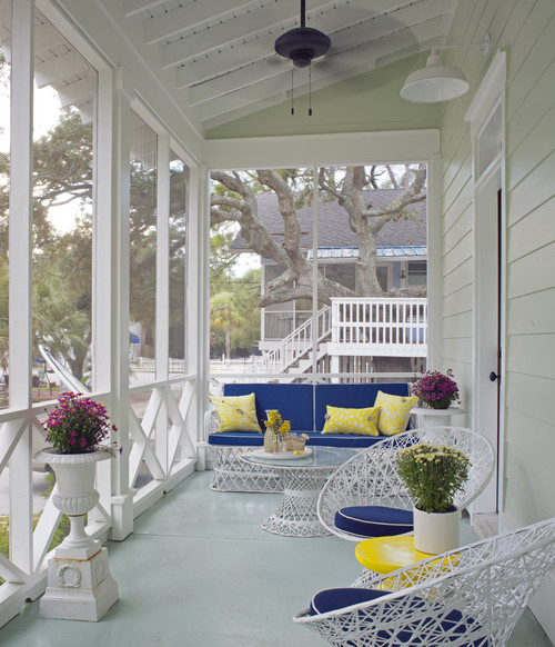 Blue and Yellow Front Porch