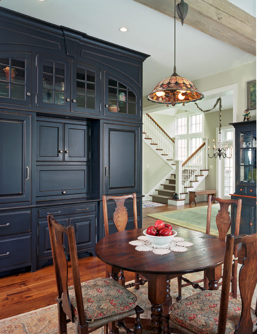 Traditional Dining Room in Navy Blue