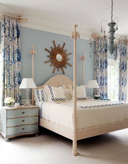Light and Navy Blue Master Bedroom