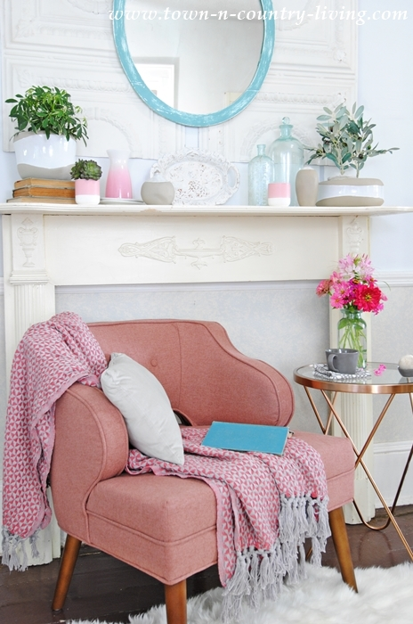 Pink Chair in a cozy reading corner