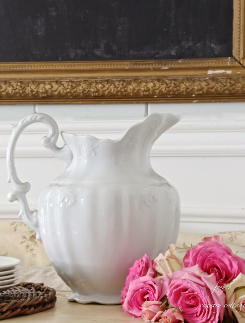 White Ironstone Pitcher from French Country Cottage