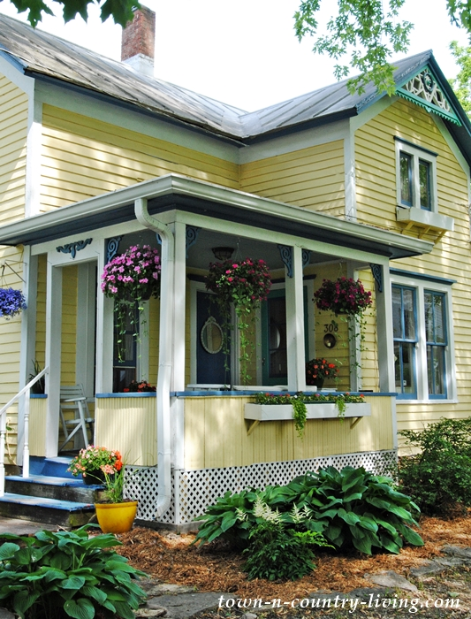 summer porch, hanging baskets, porch decorating ideas