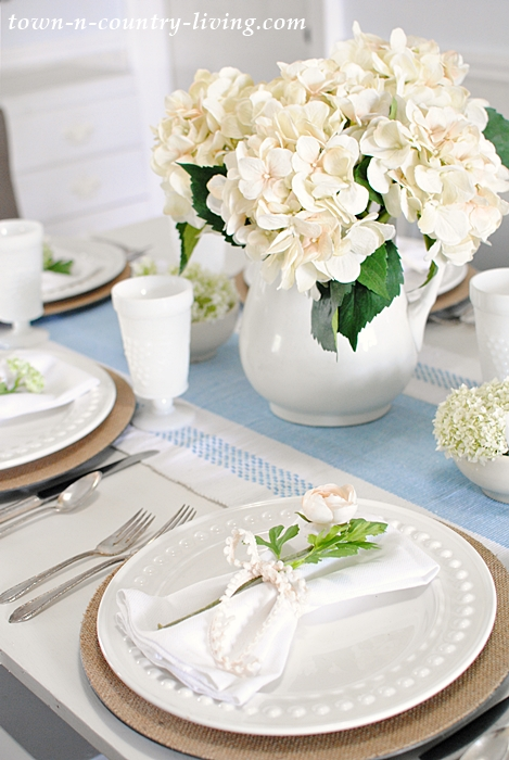 Summer Table Setting with Silk Flowers