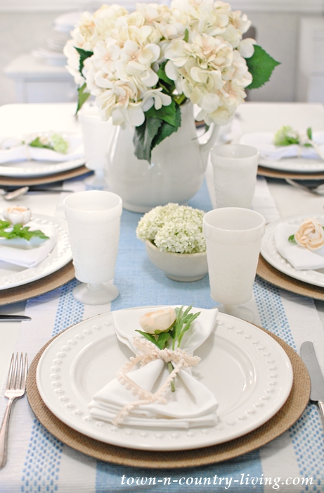 Summer Tablescape, white dishes