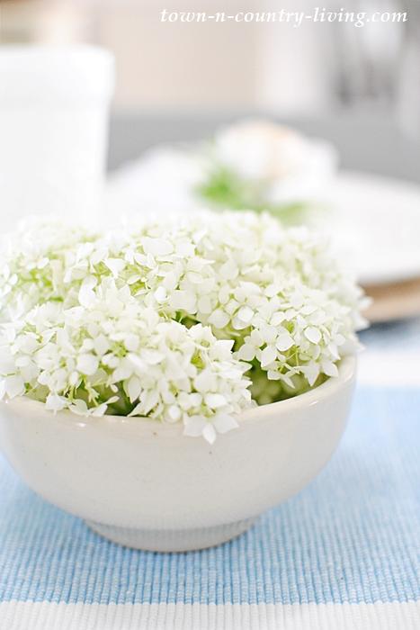 White hydrangea, white ironstone bowl