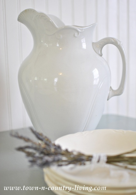 White Ironstone Pitcher