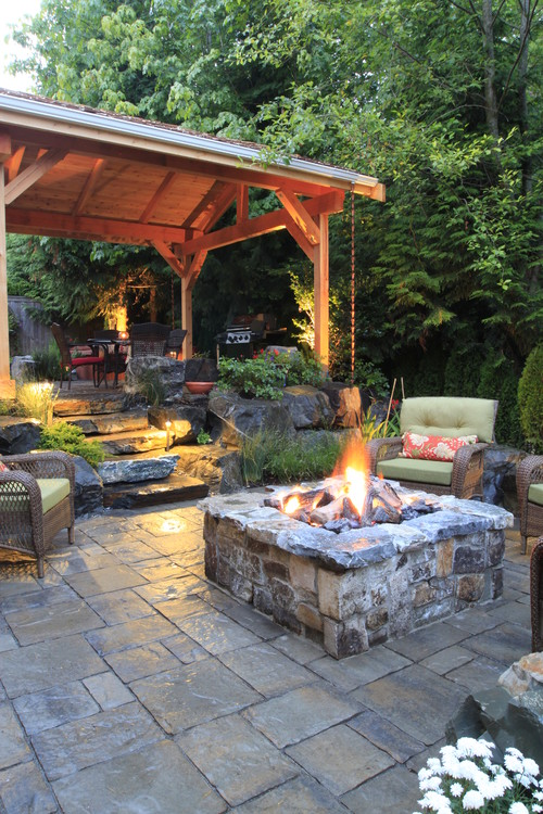 Large Stone Patio with Pergola and Firepit
