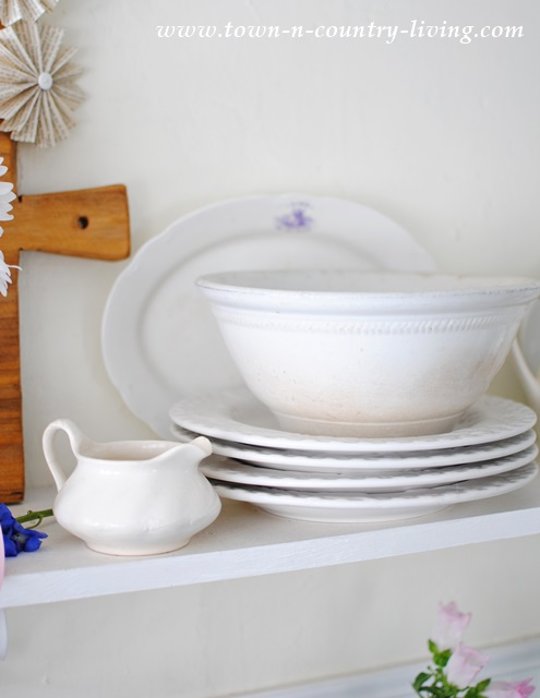 White ironstone platters, dishes, bowls, and creamer