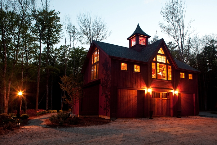 Yankee Barn post and beam house at night