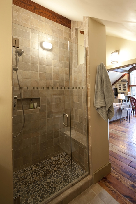 Yankee Barn post and beam house bathroom