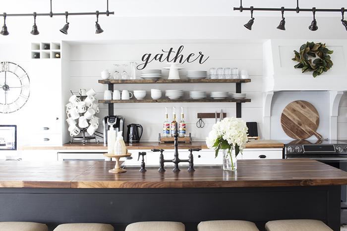 AKA Design farmhouse kitchen open shelves