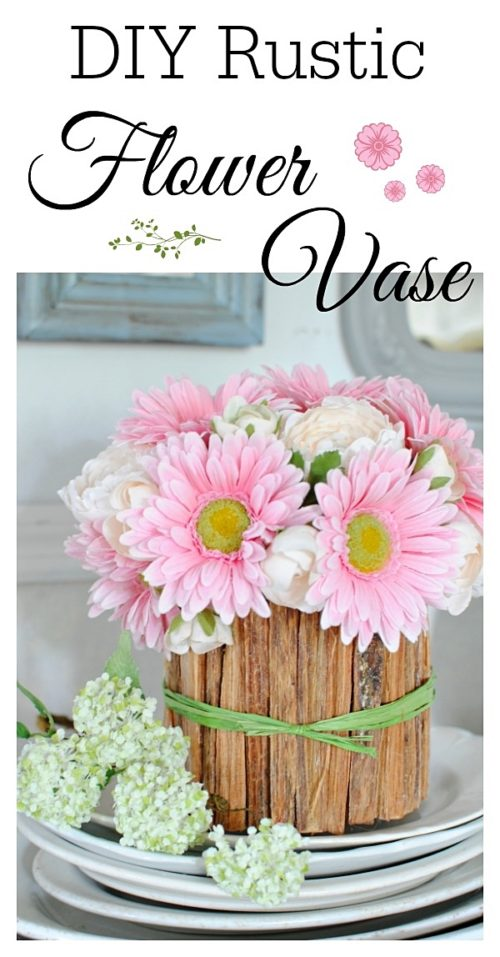 Make a rustic flower vase with kindling wood