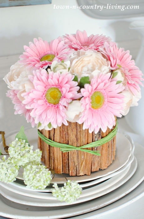 How to make a rustic flower vase with pink gerbera daisies