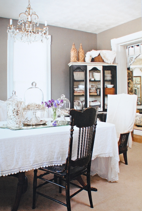 Farmhouse dining room with romantic prairie influence