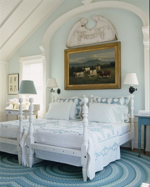 Blue and White Bedroom with Country Oil Painting