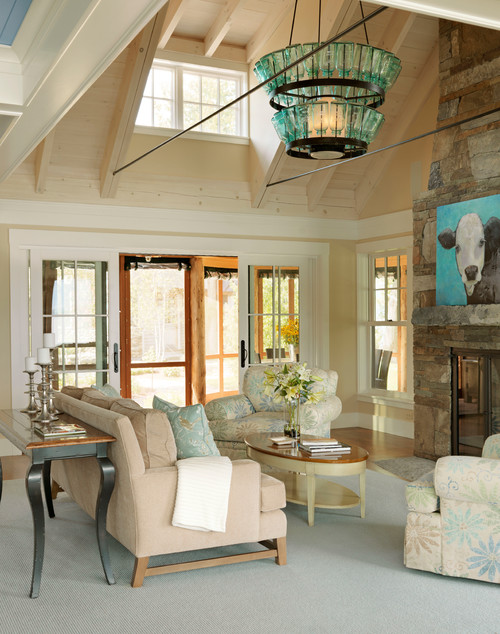 Beach Style Living Room with Cow Decor