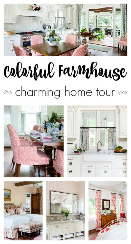 Add color to rooms through the use of textiles - in this colorful farmhouse tour